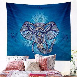 tapiz hindu elefante azul pared