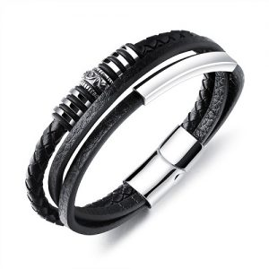 pulseras negras de cuero para hombre
