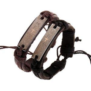 pulseras de cruz en cuero