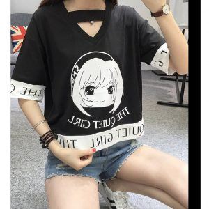 cartoon anime t shirts women black