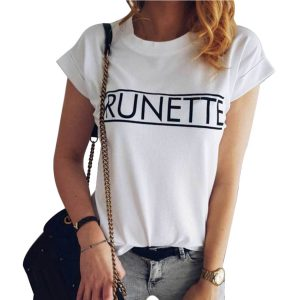 white t-shirts women brunette