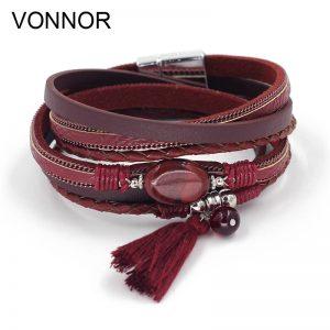 pulseras bohemias de cuero rojo
